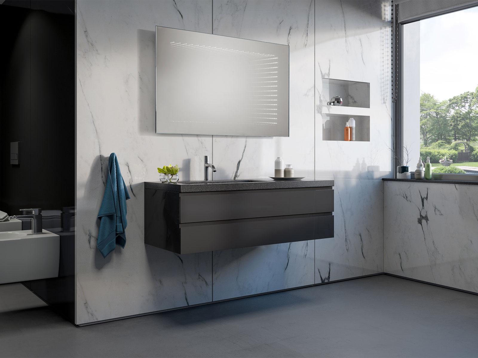 badspiegel 3d illusion led. Black Bedroom Furniture Sets. Home Design Ideas